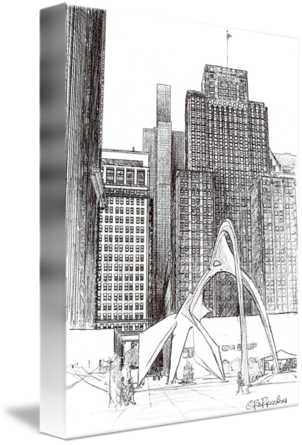 picture free stock Chicago art by riccoboni. Urban drawing downtown