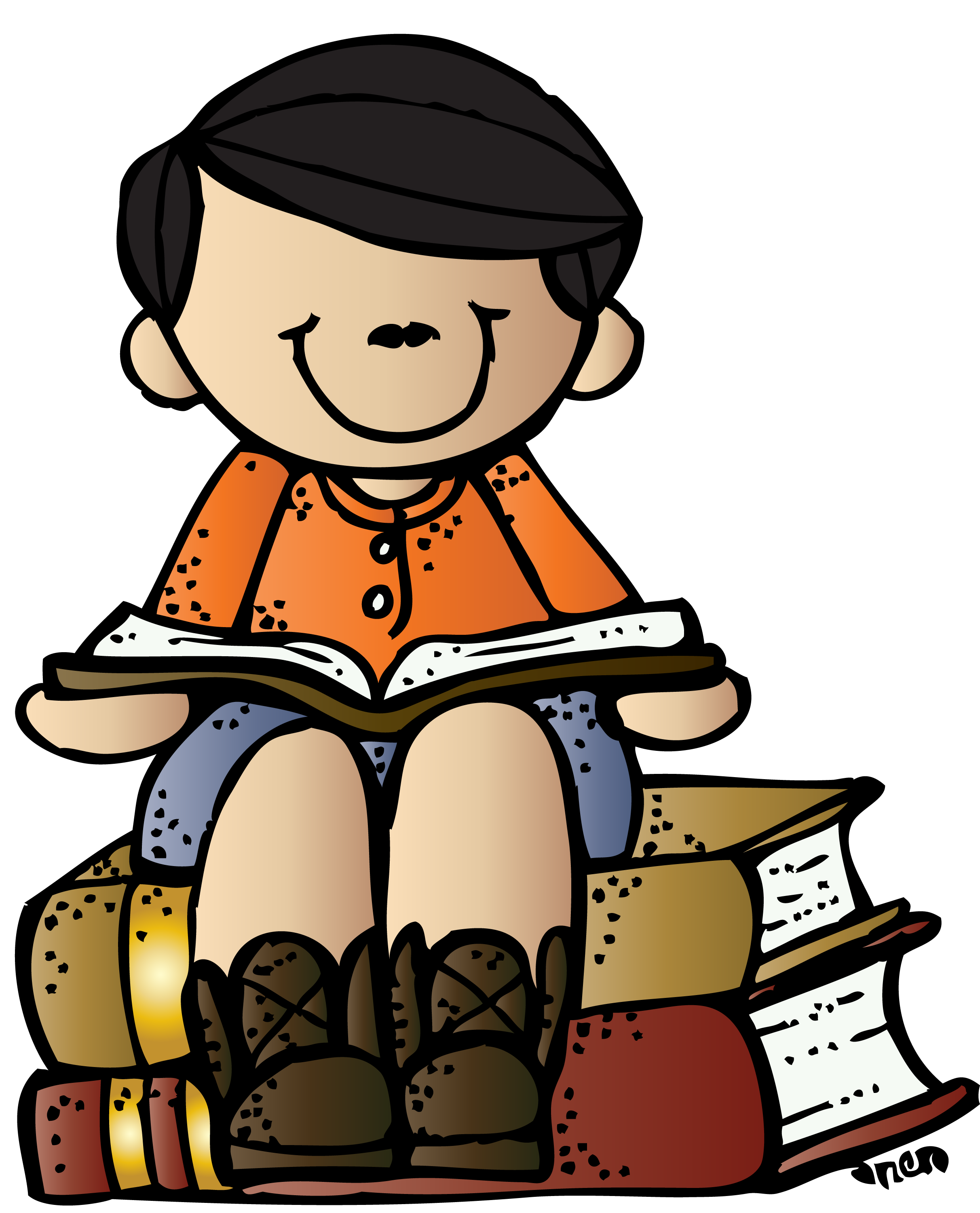 image black and white download Melonheadz boy on books. Child writing clipart