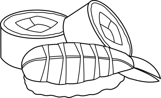 transparent stock Sushi Black And White Clipart