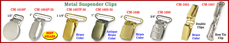 black and white Suspender Clips