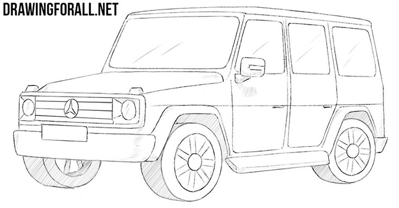 clip art black and white Suv drawing. How to draw a.