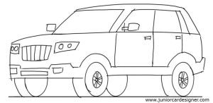 picture black and white stock Car tutorial front view. Suv drawing.