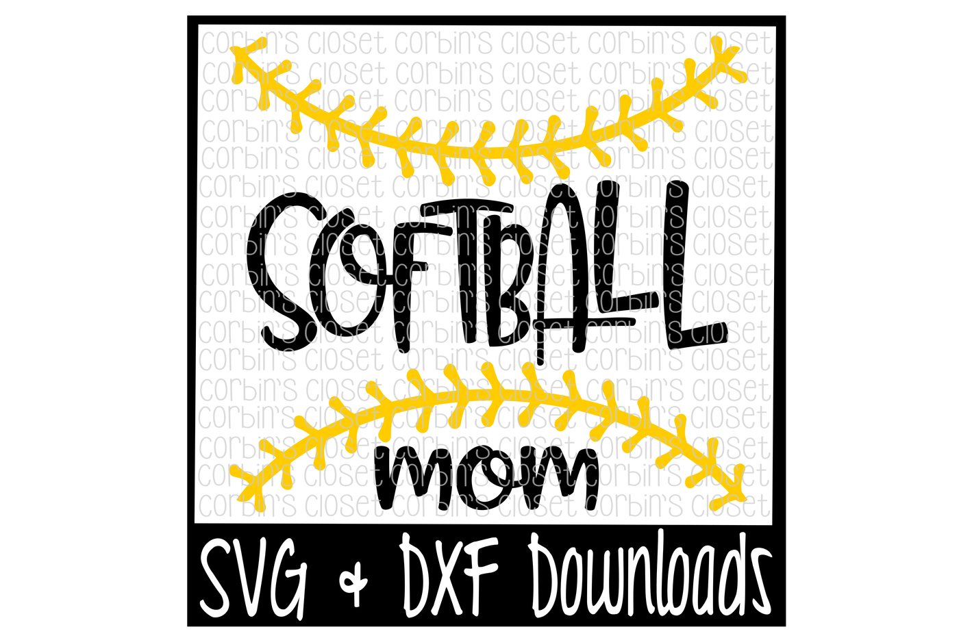 vector black and white Softball Mom SVG