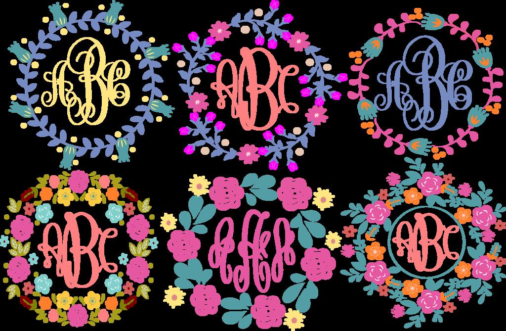 picture freeuse download Floral Flower Wreaths Monogram Frames SVG Cut File