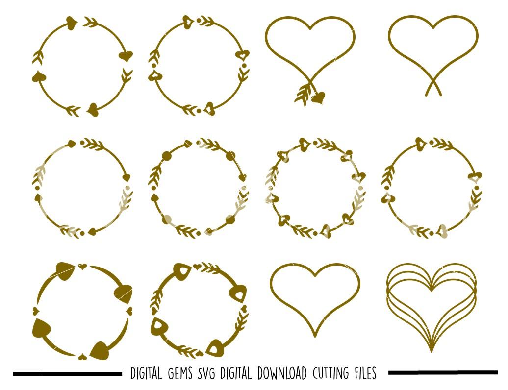 clip art Svg frames. Monogram dxf eps png.