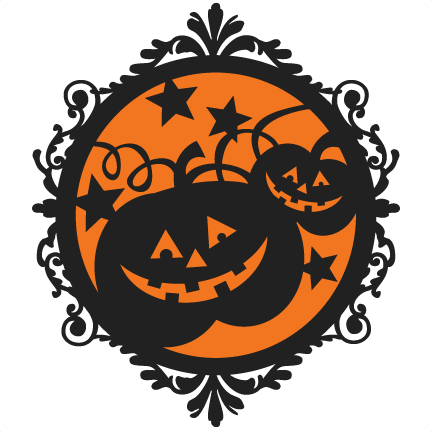 graphic black and white library Halloween Pumpkin Frame SVG scrapbook cut file cute clipart files