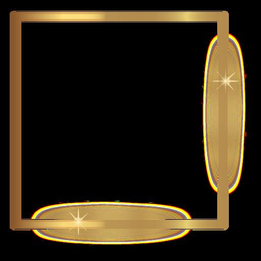 stock Svg frames square. Thin golden frame transparent