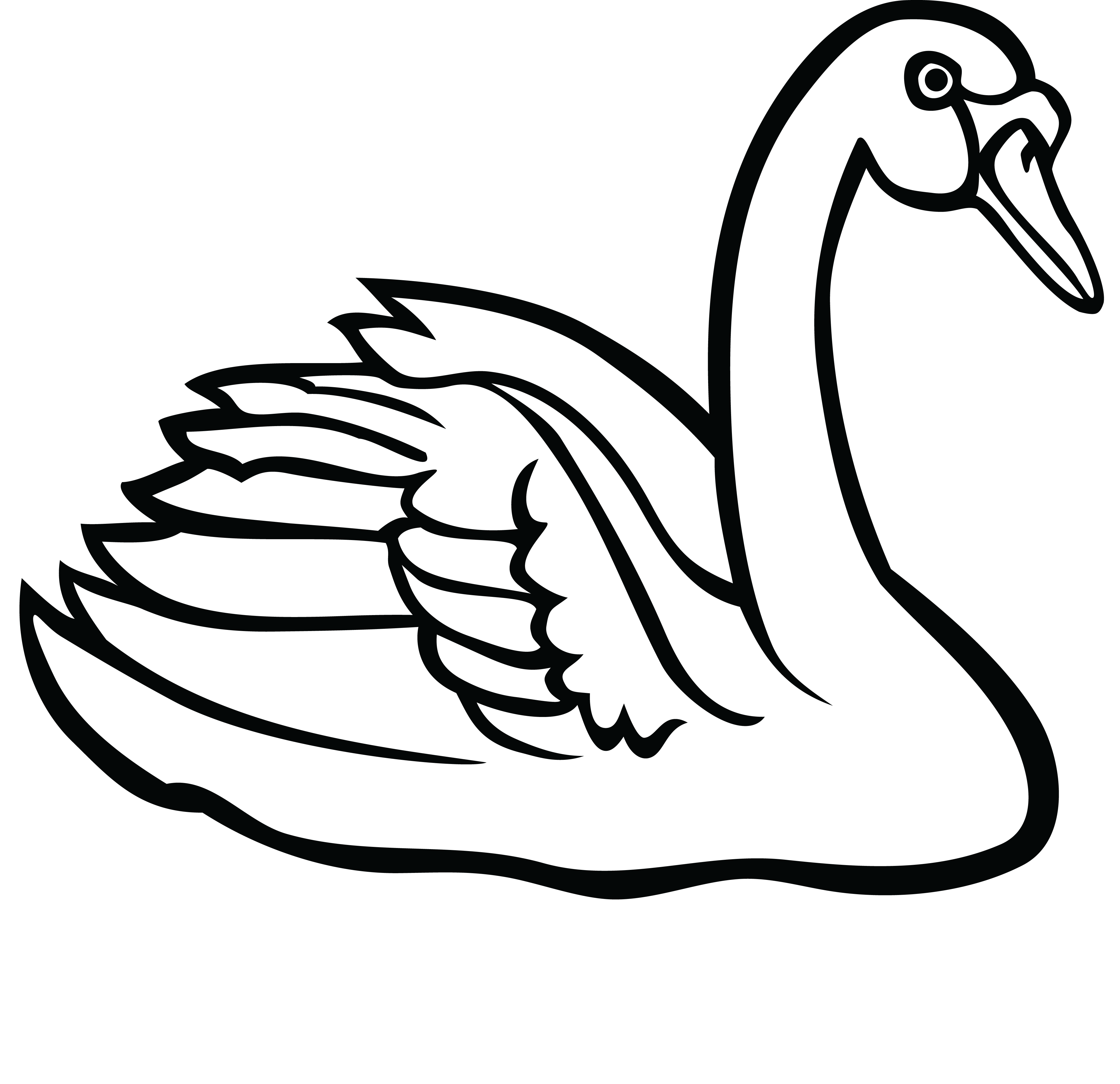 clip art black and white library Swans drawing. Swan clipart free download.