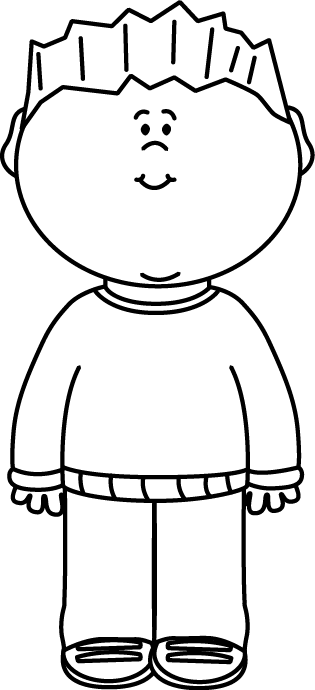 image freeuse Sweater clipart black and white. Boy wearing a painting