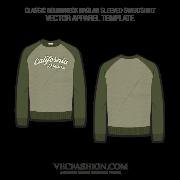 clip art stock Classic Round Neck Sweatshirt Raglan Sleeve