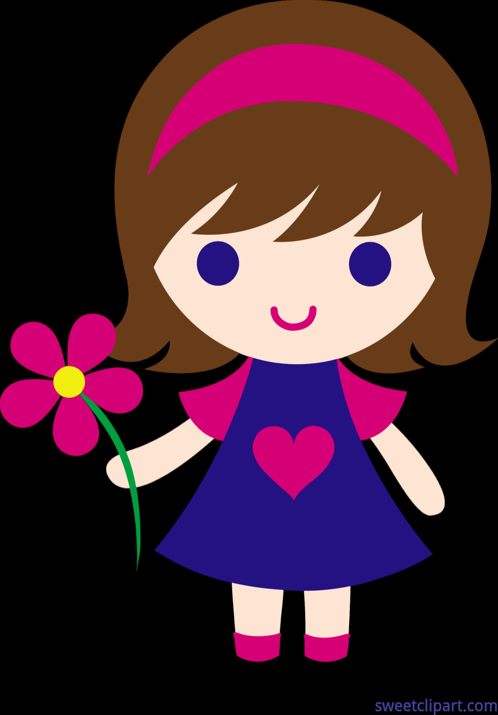 banner freeuse library Little girl flower clip. Sweet clipart