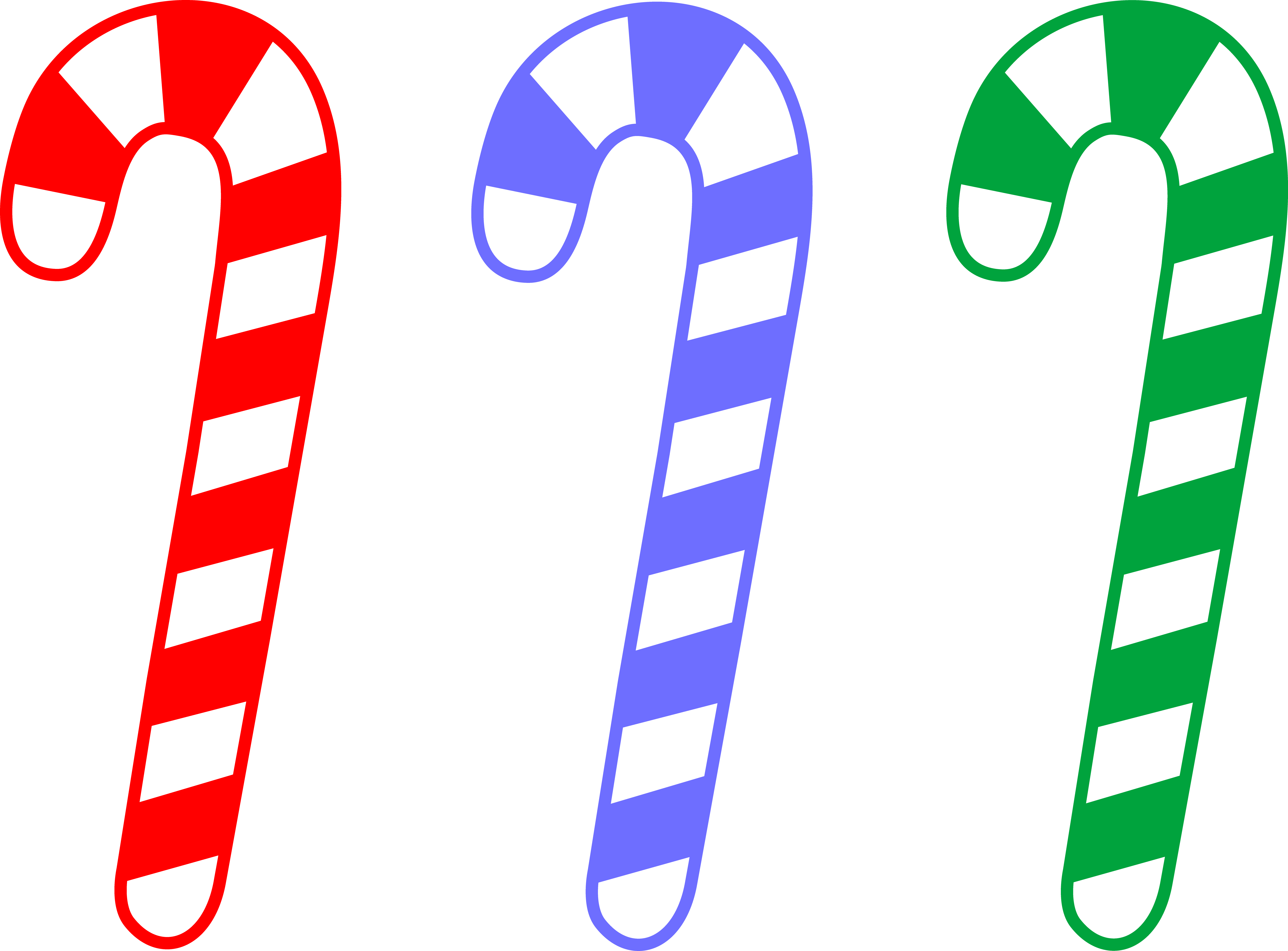 jpg black and white library Cane clipart colored. Red blue and green.