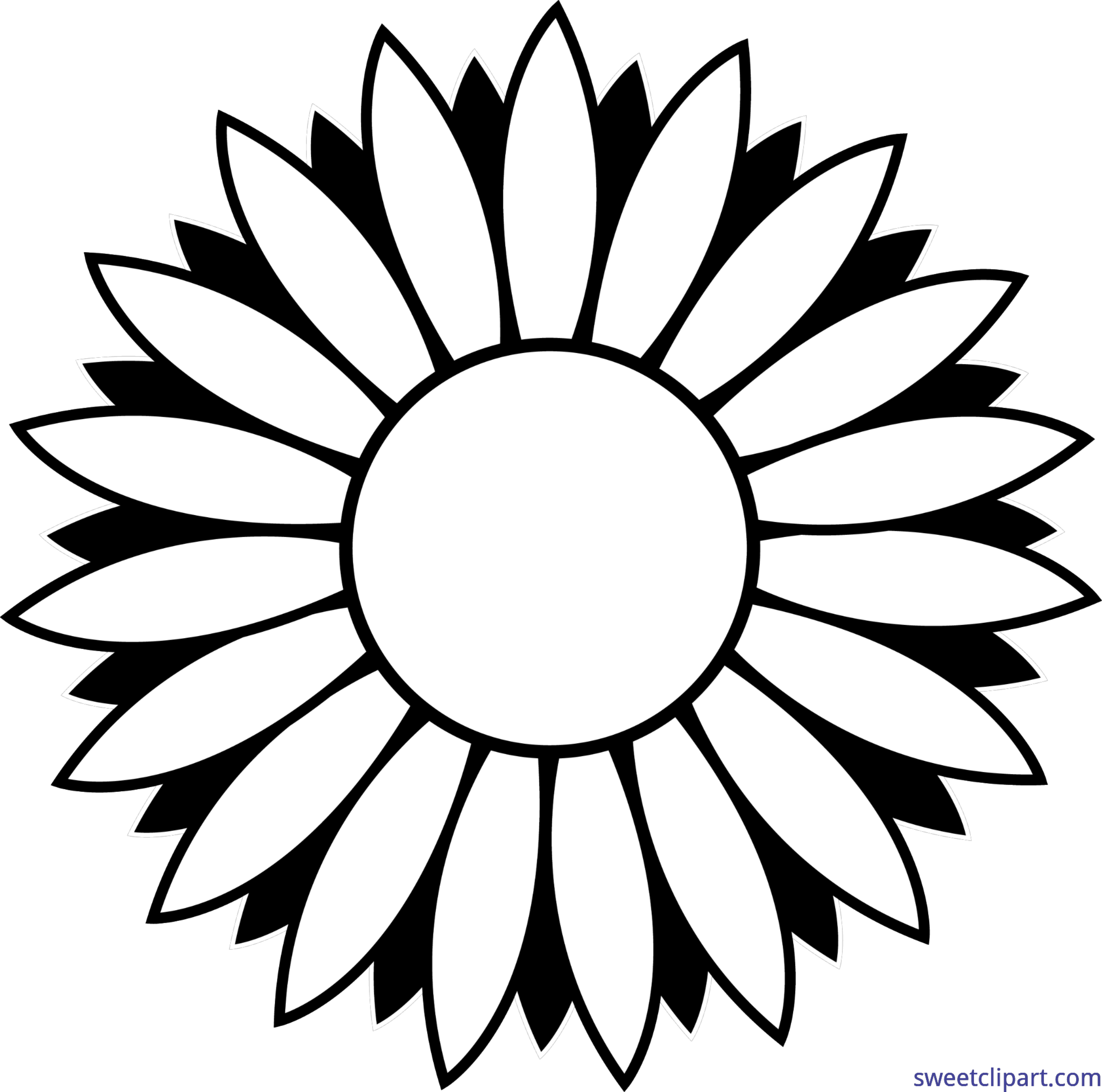 picture library Flower sunflower lineart clip. Sweets clipart black and white