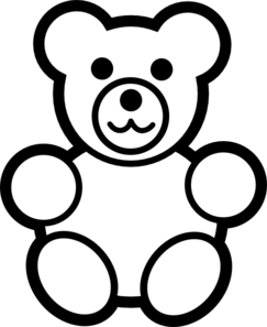 jpg library stock Teddy bear clipart black and white. Sweets outline free on