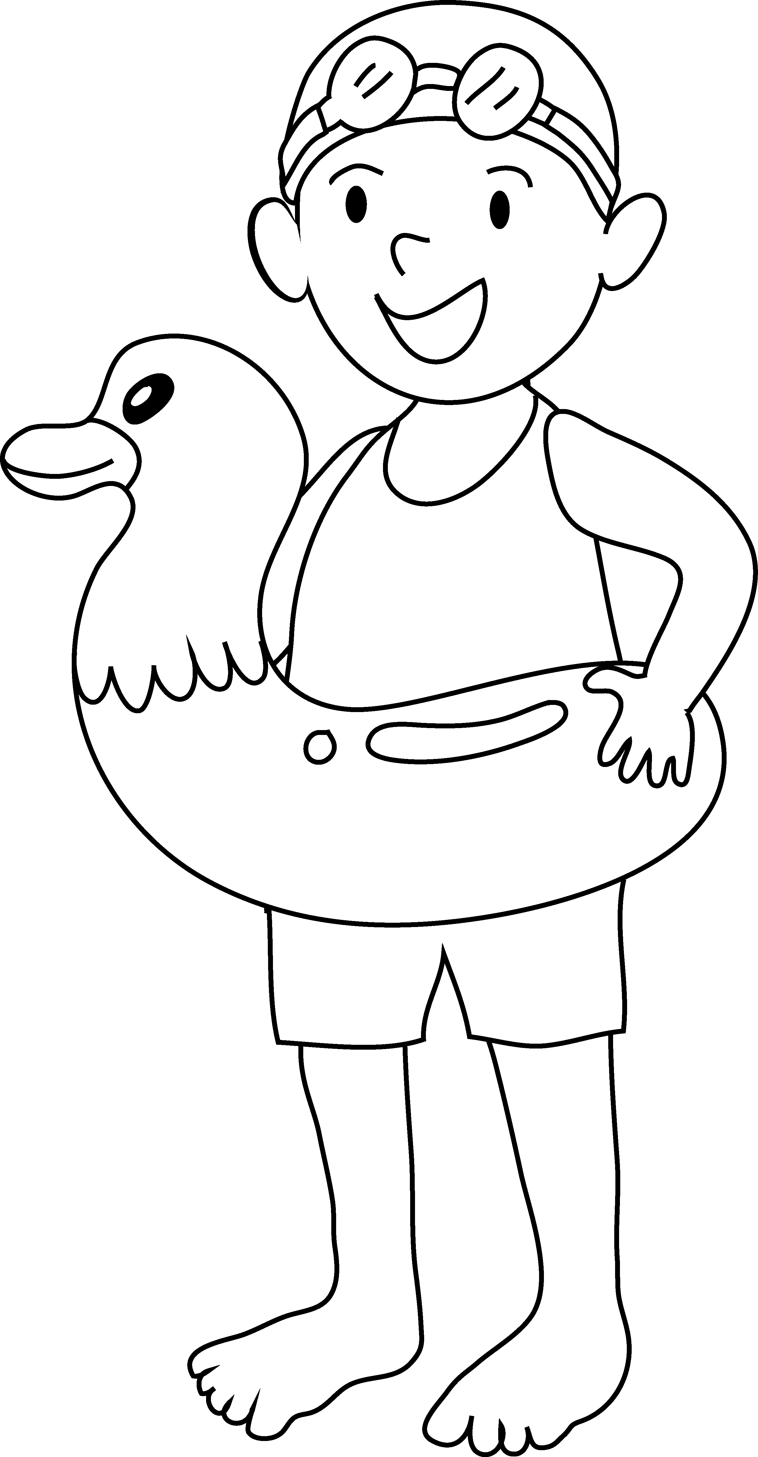 jpg black and white library Coloring page of going. Kid swimming clipart