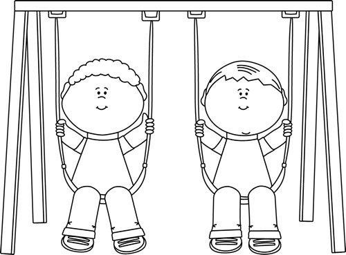 jpg free stock Swing clipart black and white. Kids on a clip