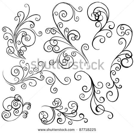 graphic freeuse stock Simple pattern google search. Swirl drawing filigree
