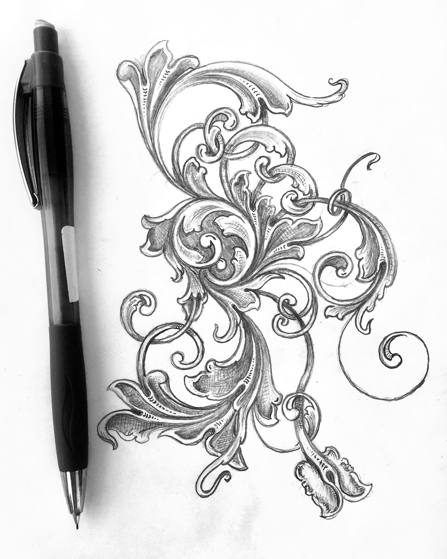 jpg freeuse download Swirl drawing filigree. Scrollwork scroll sketch acanthus