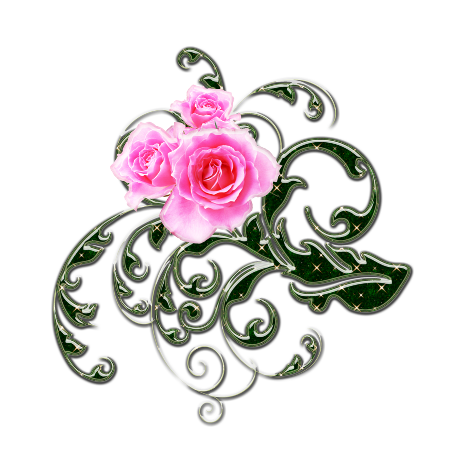 clipart freeuse library pink roses and green swirls png