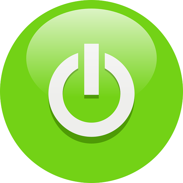 image library library Green computer switch icon symbol with glossy design