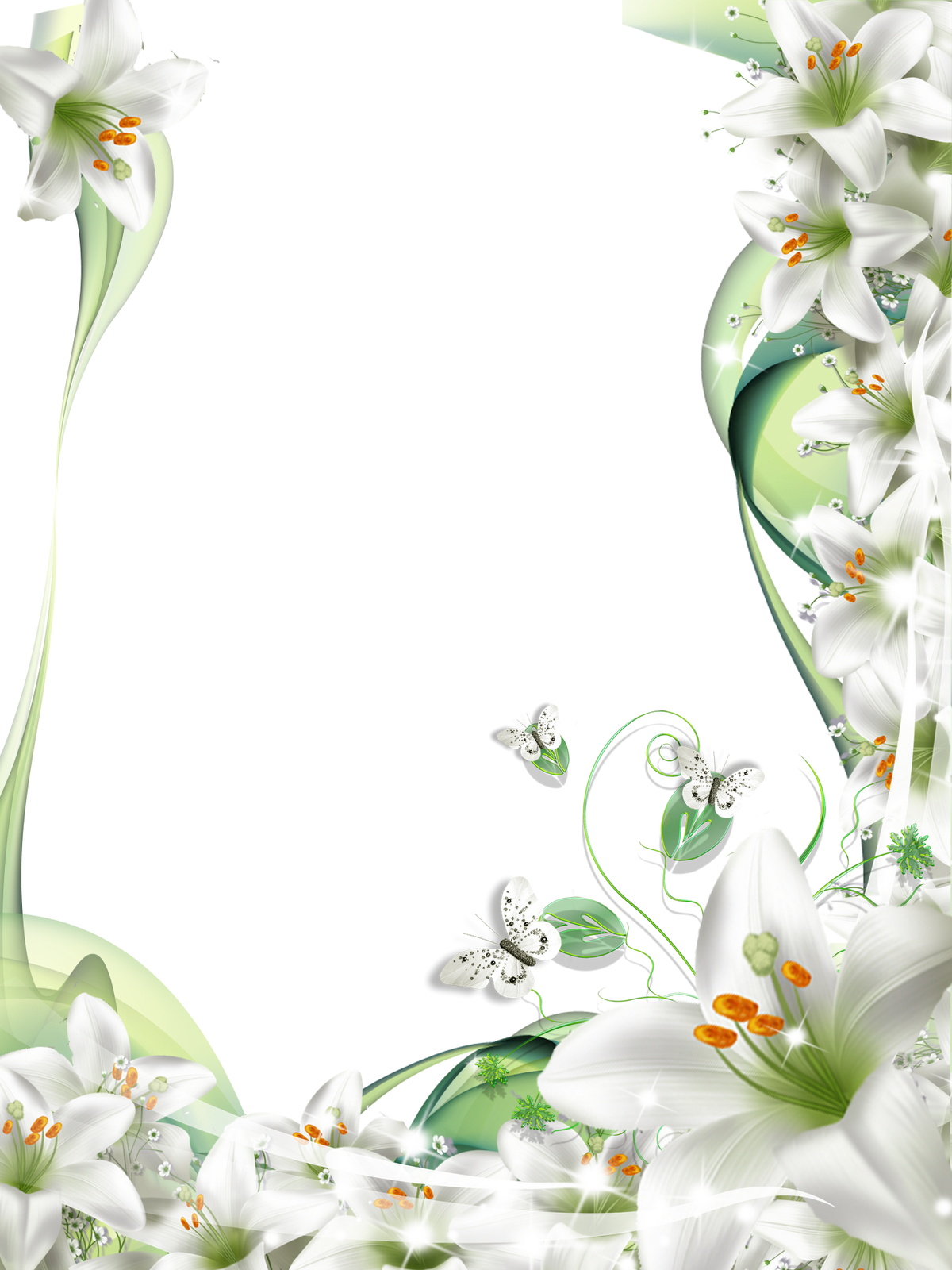 banner black and white download Lilies frame suitable for. Sympathy clipart