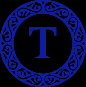 graphic free T clipart blue letter. Monogram clip art at