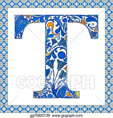 banner black and white stock T clipart blue letter. Vector illustration