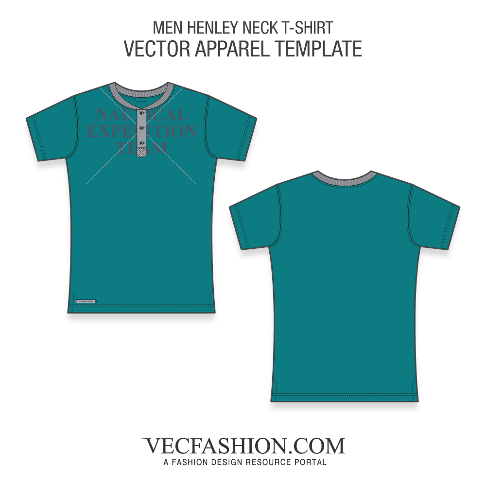 royalty free T tagged henley neck. Drawing shirts detailed