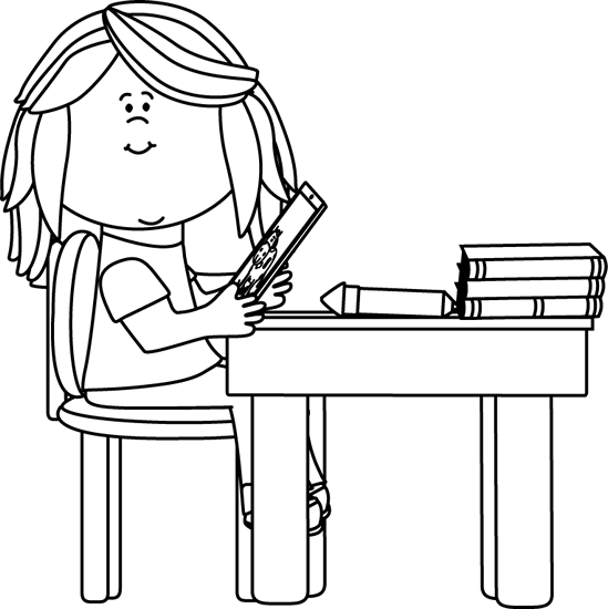 banner Girl using a tablet. Technology clipart black and white