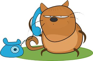 clip art royalty free stock Talking clipart. Cat in phone clip