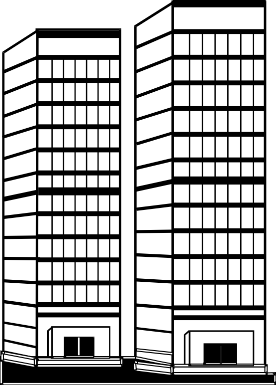 jpg transparent  collection of building. Skyscraper clipart black and white