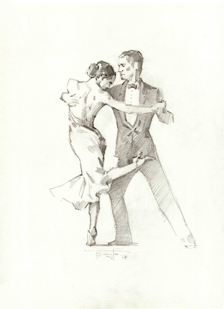 clip art black and white stock Tango drawing. Art print