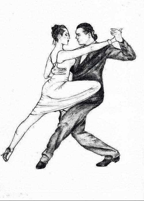banner royalty free stock Tango drawing. Dancers greeting card