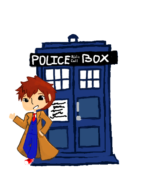 jpg royalty free library Chibi Doctor and the Tardis Digital by TheCherryGoldfish on DeviantArt