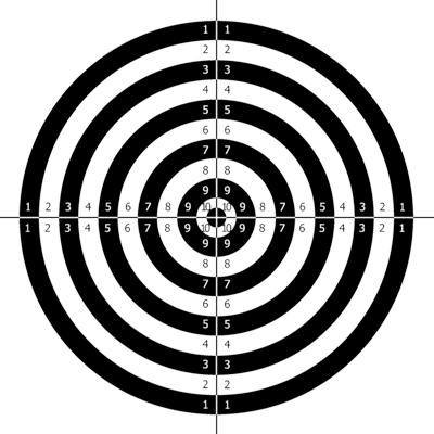 graphic black and white stock Dart Board Shooting Target