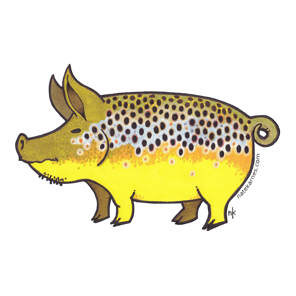 graphic freeuse Nate Karnes Pig Brown Trout Sticker