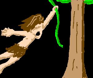 svg library Tarzan swings on vine