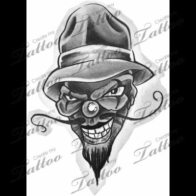vector royalty free download Grey Ink Gangsta Tattoo Design