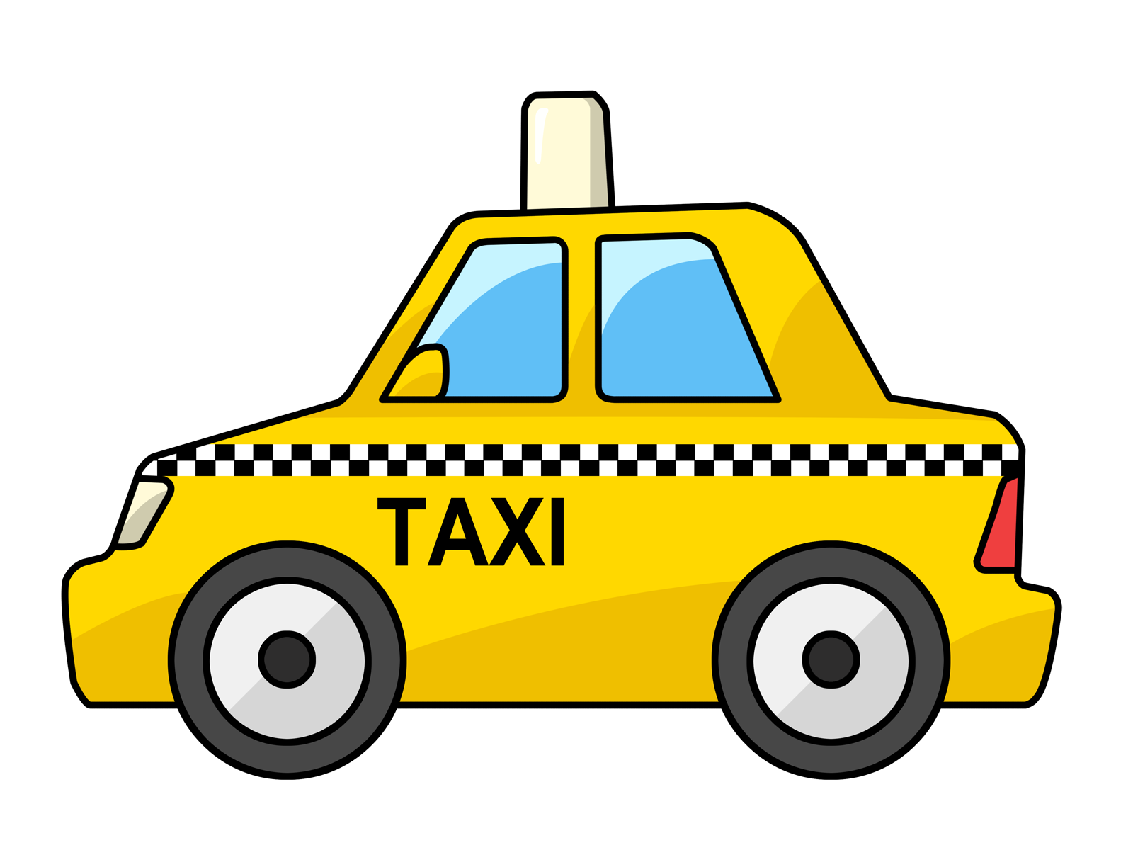 clipart transparent stock Yellow cab outline color. Taxi drawing.