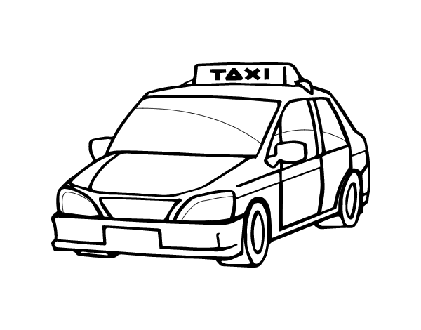 svg freeuse A cab coloring page