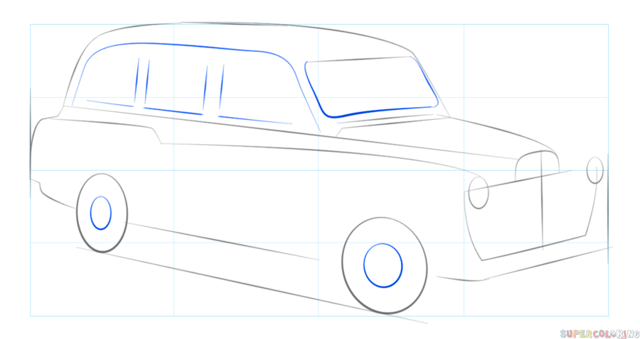 image How to draw a London taxi cab