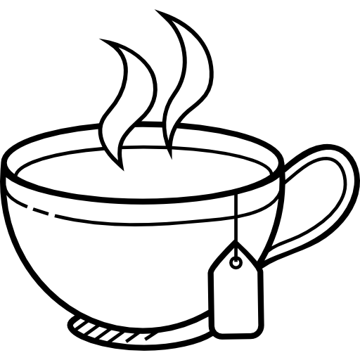 jpg library library Hot Tea PNG Black And White Transparent Hot Tea Black And White