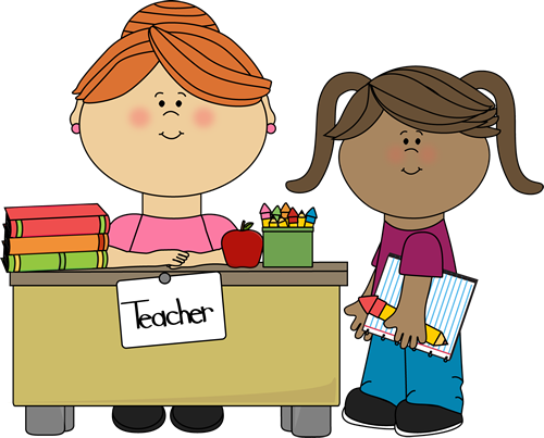 royalty free Teacher and students clipart.  collection of child