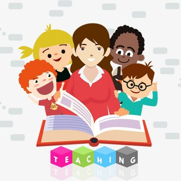 royalty free library Teacher student reading . Teachers and students clipart