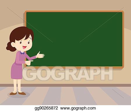 clip art black and white stock Vector art young standing. Teacher chalkboard clipart.
