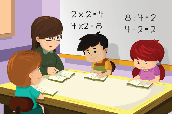 graphic royalty free download Teacher and student the. Students in classroom clipart.