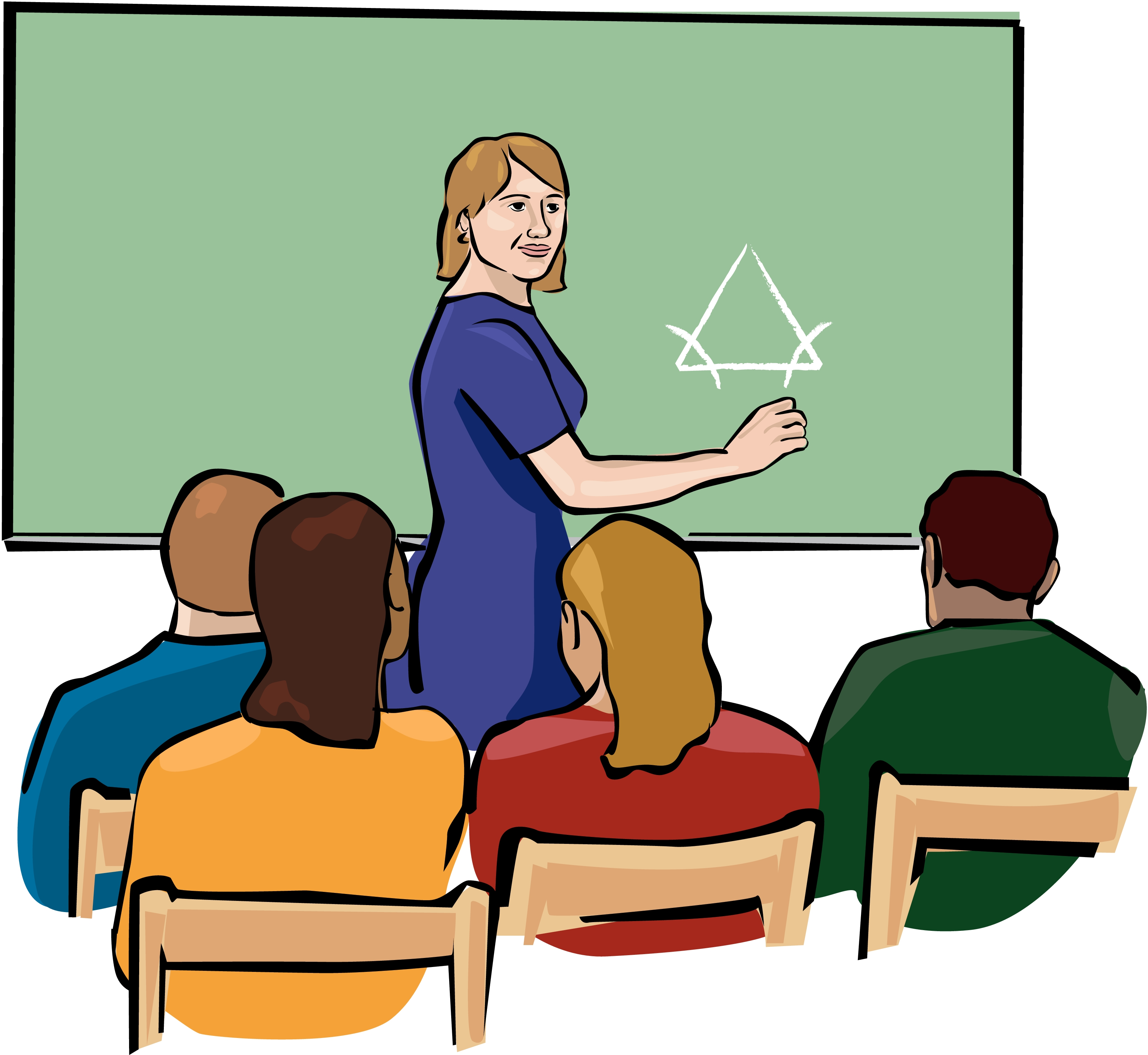 svg black and white download Teacher teaching clipart. In front of math