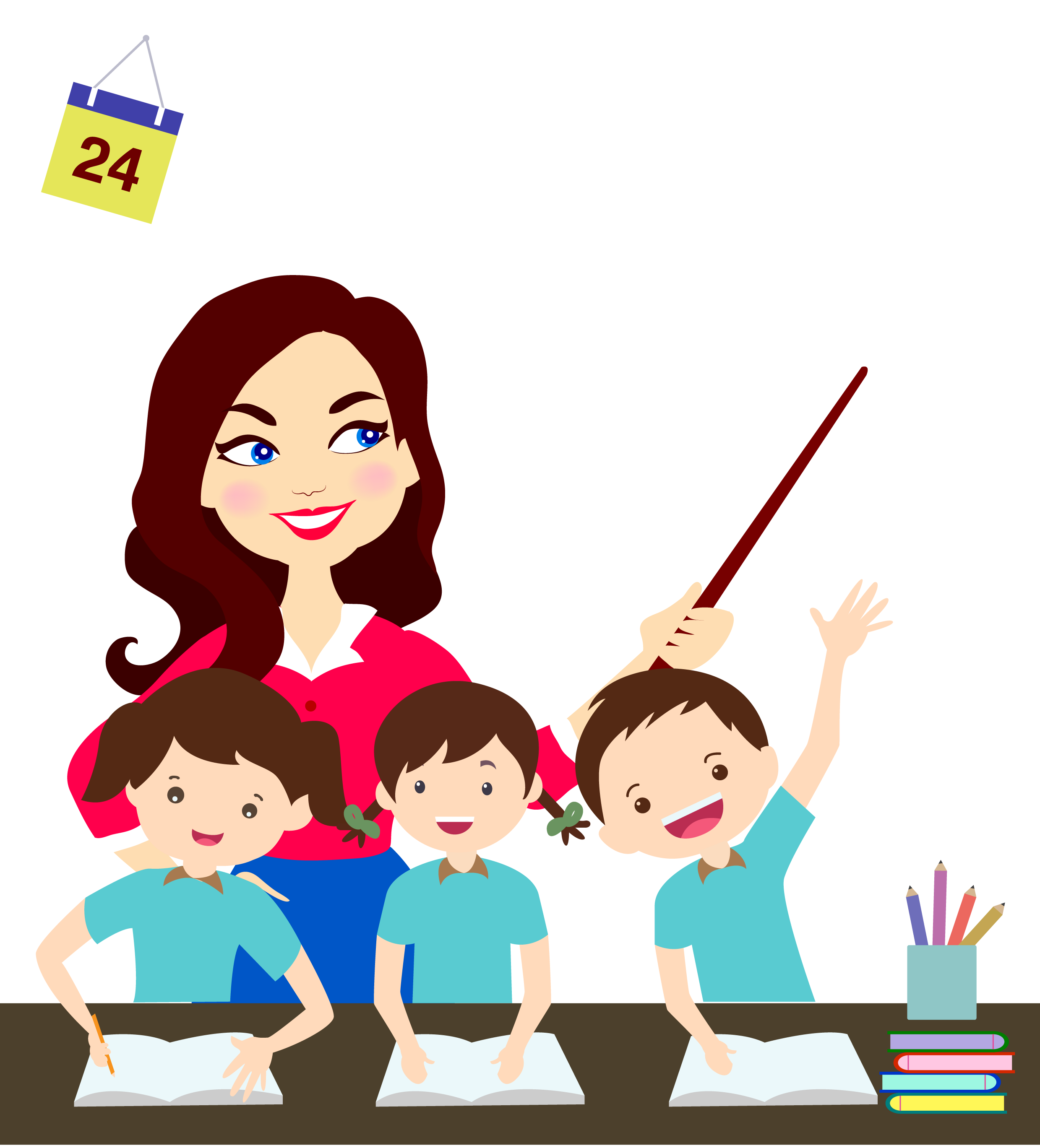 clip art royalty free Cartoon graphic design icon. Teacher teaching students clipart