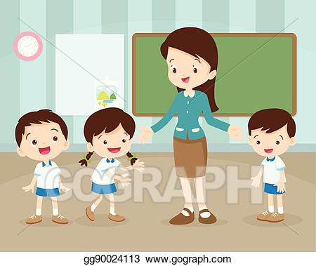 download Vector art and in. Teacher with students clipart.