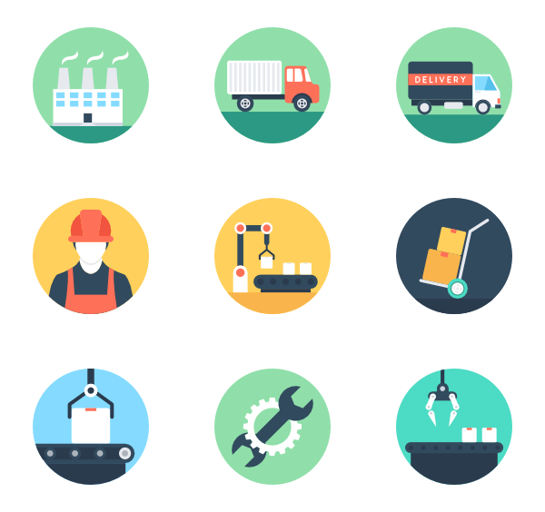 freeuse stock Teamwork and organization free. Vector manufacturing icons.